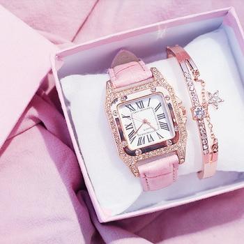 цена на Square Luxury Women Watches Imitation Leather Roman Numerals Ladies Watch Female Quartz Wristwatch Relogio Feminino Reloj Mujer