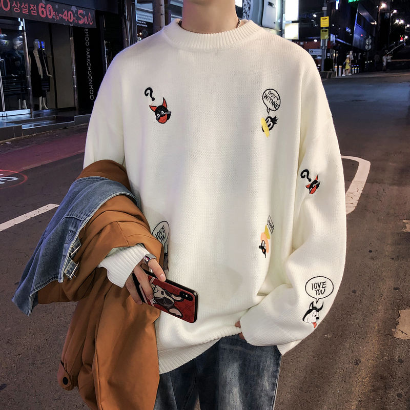 2020 Sweater Men's Korean Version Of The Trend Loose Knit Sweater Men's Harbor Wind Winter Students Warm Tie Bottom Sweater