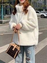 Lautaro Winter Oversized Casual Fluffy Faux Fur Sweatshirt Women Long Sleeve Pullover Soft Warm Fake Rabbit Fur Jacket 2021