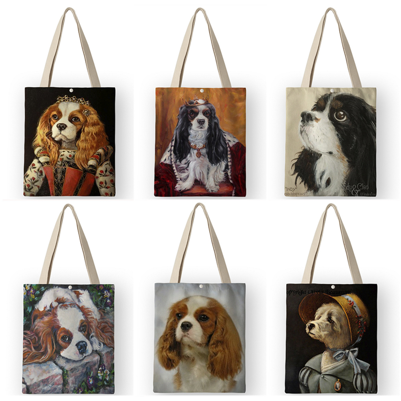 AKB01048  Tote Bag Canvas Bags For Women 2019 New Charles Spaniel Oil Painting Print Handbags Shouldr Bag For School Travel