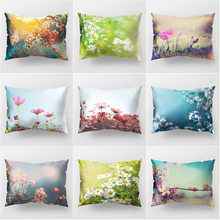 New Chinese Style Single Side Dacron Pillow Cover Fabric Pastoral Style Plant Flowers Sofa Pillow Case Car Decoration Pillow Cov(China)