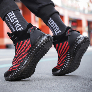 Image 2 - Fashion mens casual shoes flying woven breathable non slip shoes outdoor wear high shoes Zapatillas Hombre landing transport