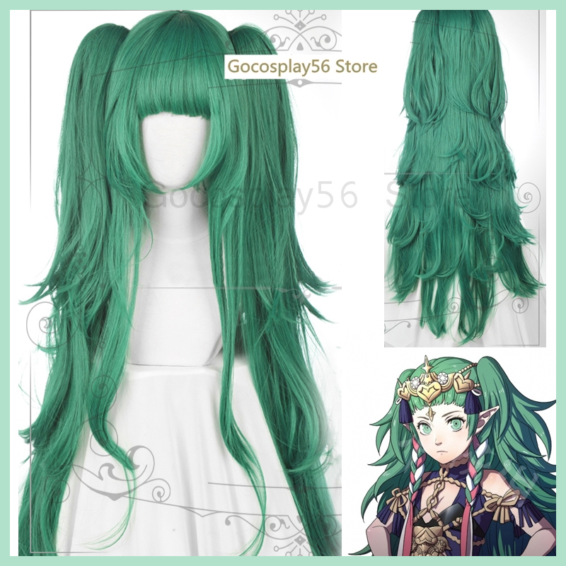 Fire Emblem ThreeHouses Hairwear Sothis Green Long Curls Cosplay Hair Ponytails Halloween Role Play Concert