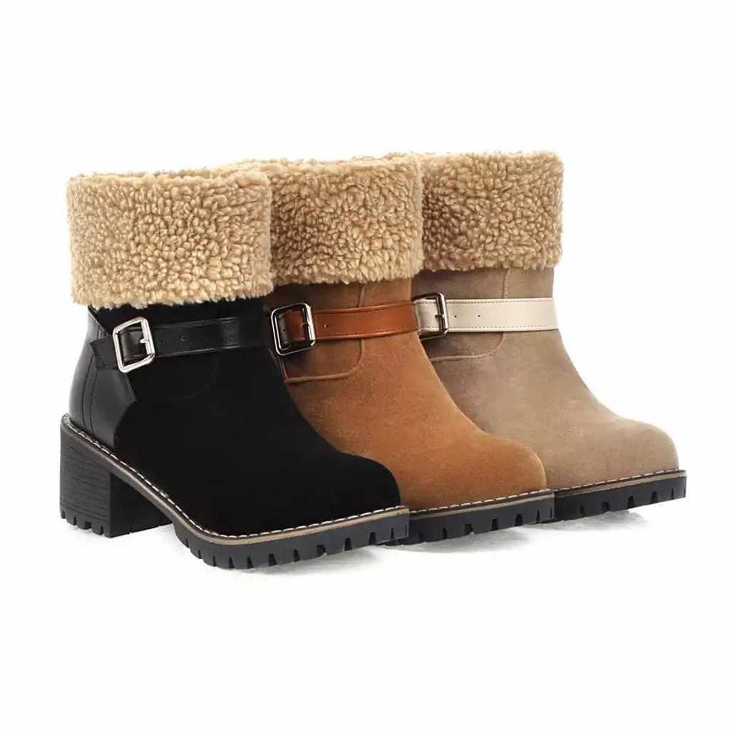 Kadın Botları Moda Bayanlar Süet yarım çizmeler Kış sıcak Anti Kayma Su Geçirmez Tıknaz Topuk Kar Botları Kadın kar ayakkabıları M840 #