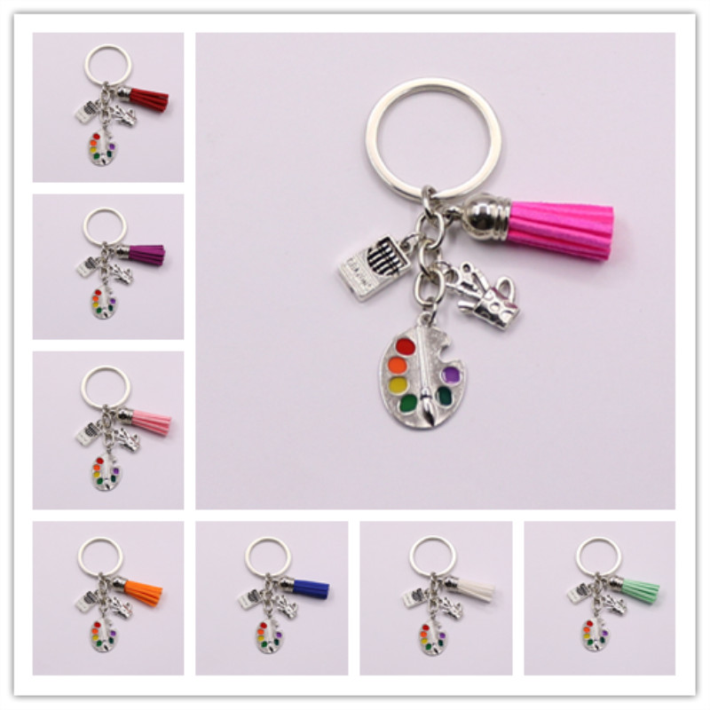 1Pcs Painters Tools-Palette&Brush Keychain With Tassel Jewelry Tibetan Silver Charm Pendant Key Chain Ring DIY Fit Keychain
