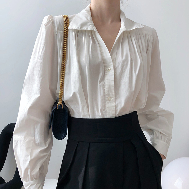 2020 Women Autumn Puff Sleeve Blouses Long Sleeve Turn Down Collar Womens Tops And Blouses White Shirt Blusas Roupa Feminina 1