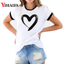 2019 Women T-shirts Casual Love Printed Tops Summer Female T Shirt  Simple Style Short Sleeve Tee Couple Clothes