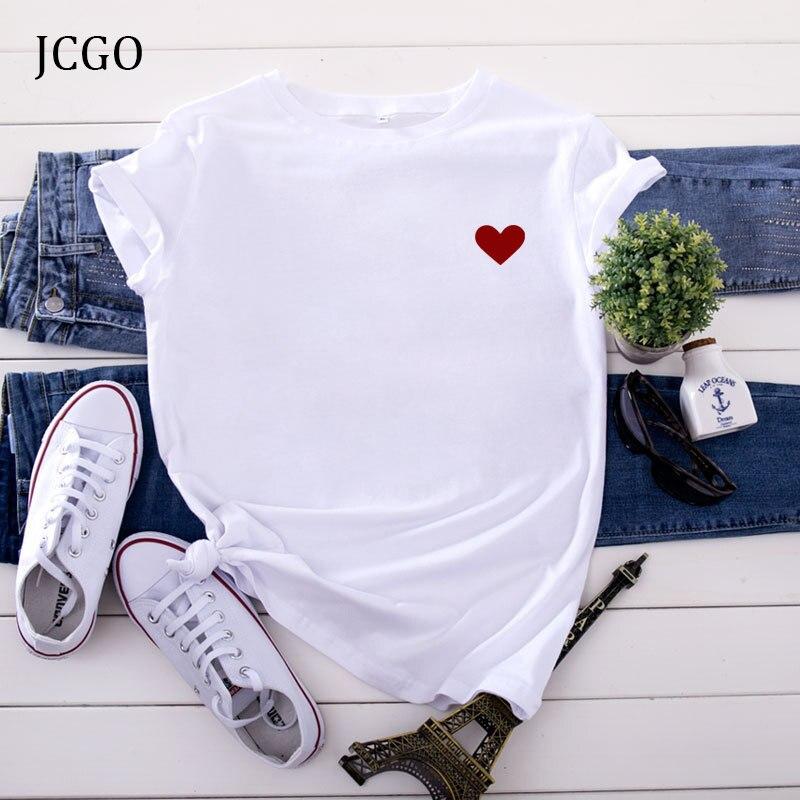JCGO летняя Хлопковая женская футболка с принтом сердца S 5XL размера плюс с коротким рукавом футболки и топы в стиле кэжуал простые женские футболки с круглым вырезом Футболки      АлиЭкспресс