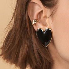 New Heart-shaped Black Earrings Jewelry Exquisite Alloy Drop Oil Bright Multicolor Fashion Womens Wholesale