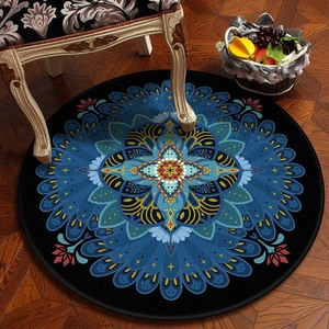 Image 2 - Muslim Area Rugs Round Geometric Carpet Living Room Doormat Floral Carpets Door Floor Mat for Bedroom Carpet Anti slip Rug