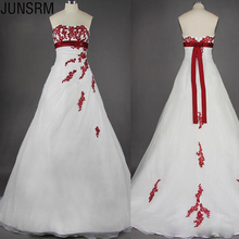 Vintage Design White and Red Wedding Dresses Strapless High Empire Waistline Appliques Lace A Line Bridal Gowns Custom Size