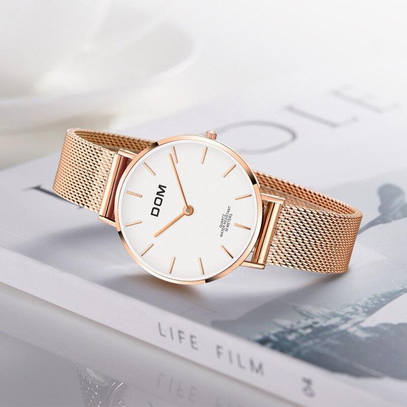 Dom DOM Online Celebrity WOMEN'S Watch Elegant Simple Ultra-Thin Waterproof Mesh Belt Quartz Watch G-36g-7m1