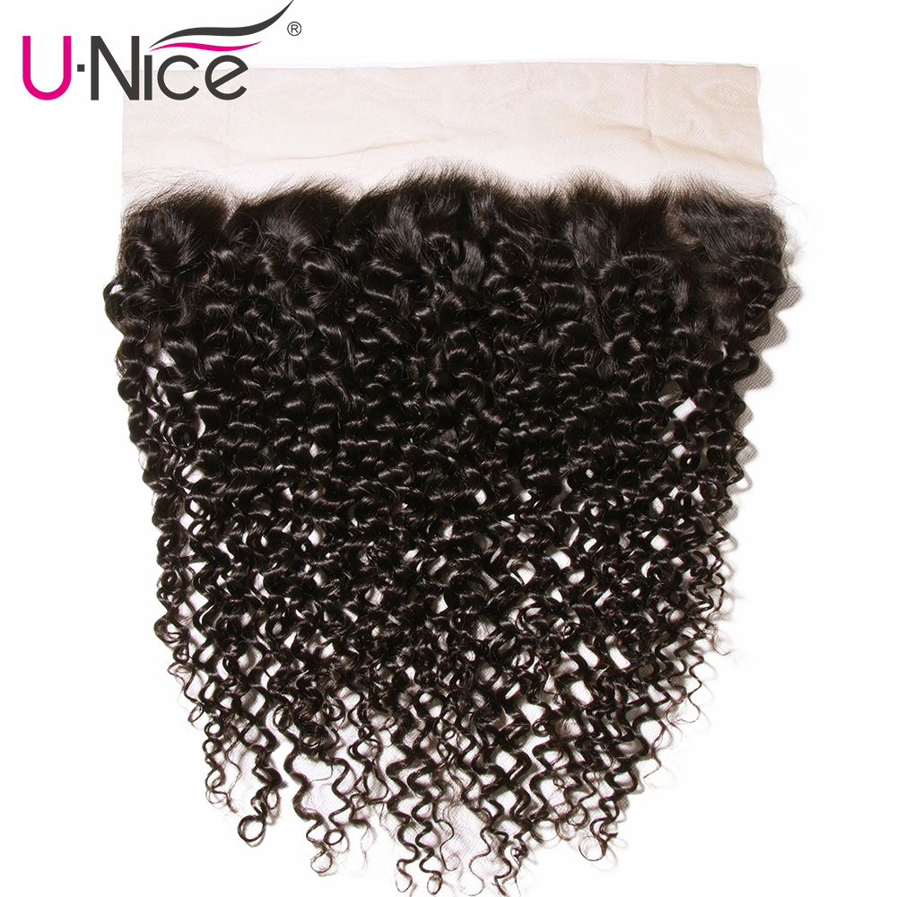 Unice Hair Brazilian Curly Hair Lace Frontal 13*4 Pre-Plucked Ear to Ear 100% Human hair Bundles Remy Hair Free Shipping