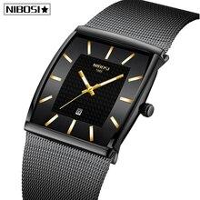 Blue NIBOSI Chronograph Square Clock Custom Design Sport Men Watches Waterproof Creative Watch Man Wristwatch Relogio Masculino
