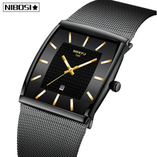 Mavi NIBOSI Chronograph kare saat özel tasarım spor erkek saatler su geçirmez yaratıcı izle adam kol saati Relogio Masculino