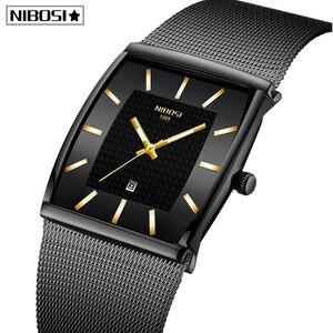Image 1 - Mavi NIBOSI Chronograph kare saat özel tasarım spor erkek saatler su geçirmez yaratıcı izle adam kol saati Relogio Masculino