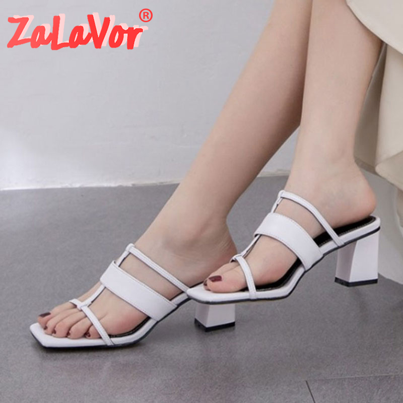 ZALAVOR 2020 Women Sandals Shoes Fashion Solid Real Leather Shoes Women Stylish Square Heels Slippers Lady Footwear Size 33-42