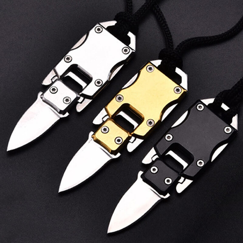Mini Self Defense Weapon Tactical Knife Security Defense Necklace Keychain Outdoor Survival Camping Tool Military Steel Knife WS