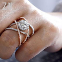 ZN New  Luxury Creative Cross - Cut Crystal Wedding Rings For Women Rose Gold Zircon Engagement Rings Jewelry Party Gifts zn new white crystal lace rings for women wedding engagement party beautiful rings rose gold fashion jewelry gift