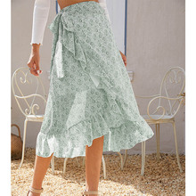 GRNSHTS Lace-up Irregular Ruffle Floral Chiffon Skirt Girl Fashion Printing Ruffle Skirt Summer Casual Soft Light Chiffon Skirt chiffon contrast ruffle hem tee