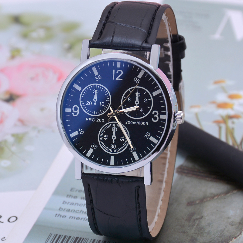 Fashionable Simple Men's Watch Casual Wild Three-eye Dial Decoration Black Belt Watch  Top Brand White Dial Quartz Men's Watch