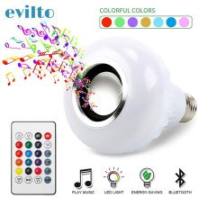 Smart Colorful Led Bulb E27 RGB Bluetooth Speaker Led Lamp 6W Music Playing Dimmable Wireless Led Light with IR Remote Control