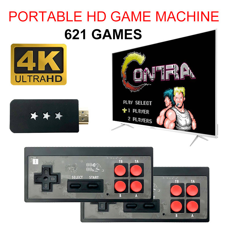 USB Wireless Handheld TV Video Game Console Build In 621 Classic Game 8 Bit Mini Video Console Support HDMI Output