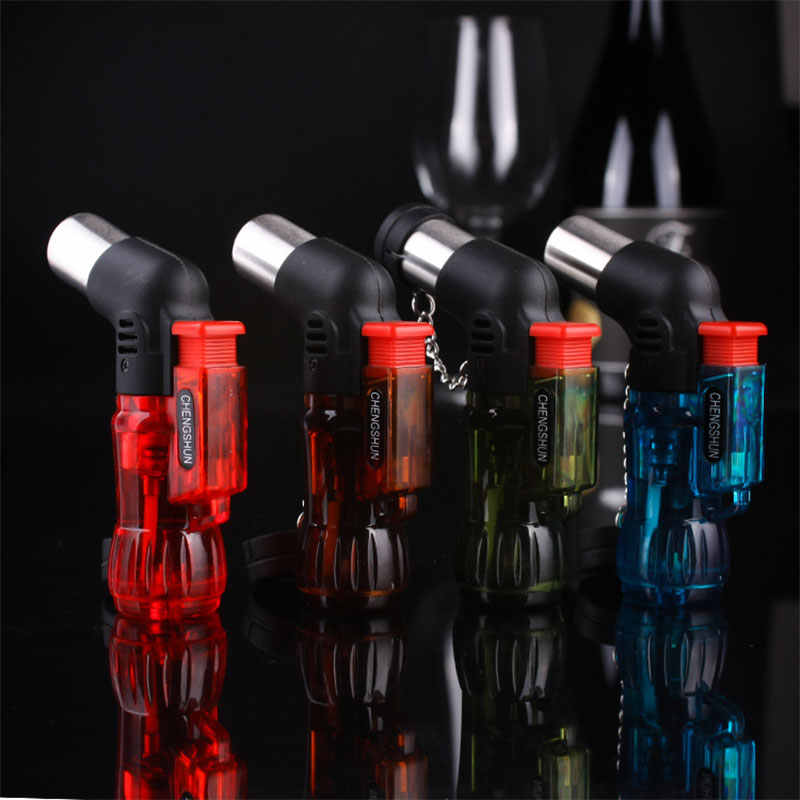 Mini Butane Jet Torch Rokok Windproof Lighter Warna Acak Plastik Fire Ignition Burner Tidak Ada Gas