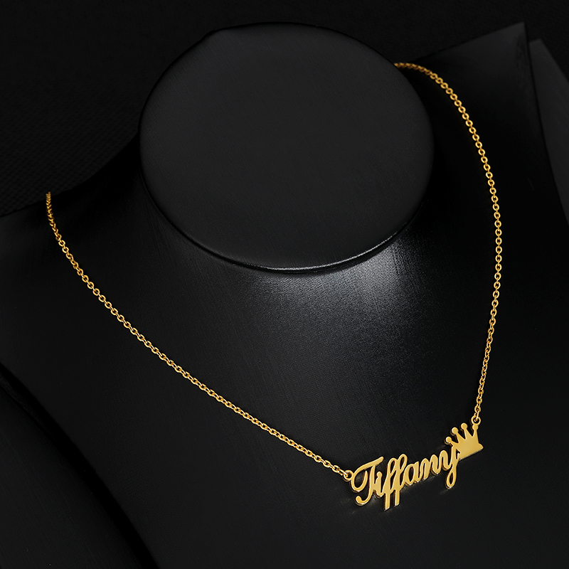 Custom Crown Name Necklace Silver Gold Chain Stainless Steel Customized Name With Crown Necklace Personalized Gift For Her BFF