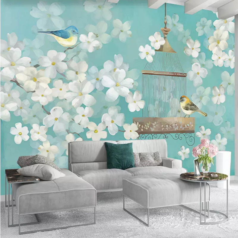 Simple European 3D Flowers And Birds TV Backdrop Wallpaper Minimalist Modern 5D Living Room Bedroom Sofa American-Style Pastoral