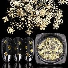 Paillettes à ongles ajourées en or, 1 boîte, flocons de neige, décorations pour Nail art, Design mixte, accessoires de manucure, LA889 1