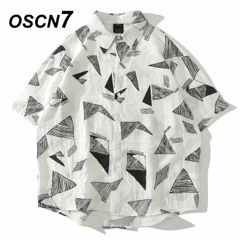 OSCN7 Casual Printed Short Sleeve Shirt Men Street 2020 Hawaii Beach Oversize Women Fashion Harujuku Shirts for Men 3961
