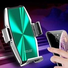 Cargador de teléfono inalámbrico para coche, abrazadera automática Qi, súper condensador, soporte de carga rápida, para iPhone 11pro max 11pro 11, para Samsung S10, 15W