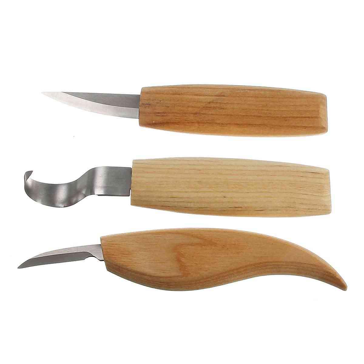 Juego de cincel de cuchillo de tallado con mango de madera de 10 piezas herramienta manual para trabajar la madera