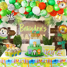 Jungle Party supplies kids Birthday Party Decorations boy Safari Animal Zoo Party Supplies Boy 1st Birthday Party Decor(China)