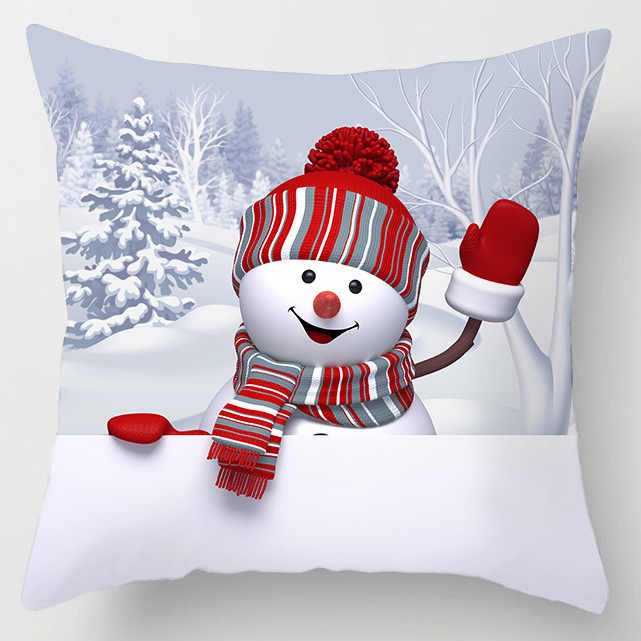 Sigle צדדי הדפסת פוליאסטר חג המולד דקורטיבי לזרוק כריות קייס קריקטורה איש שלג סנטה קלאוס כיסוי כרית רכב בית תפאורה