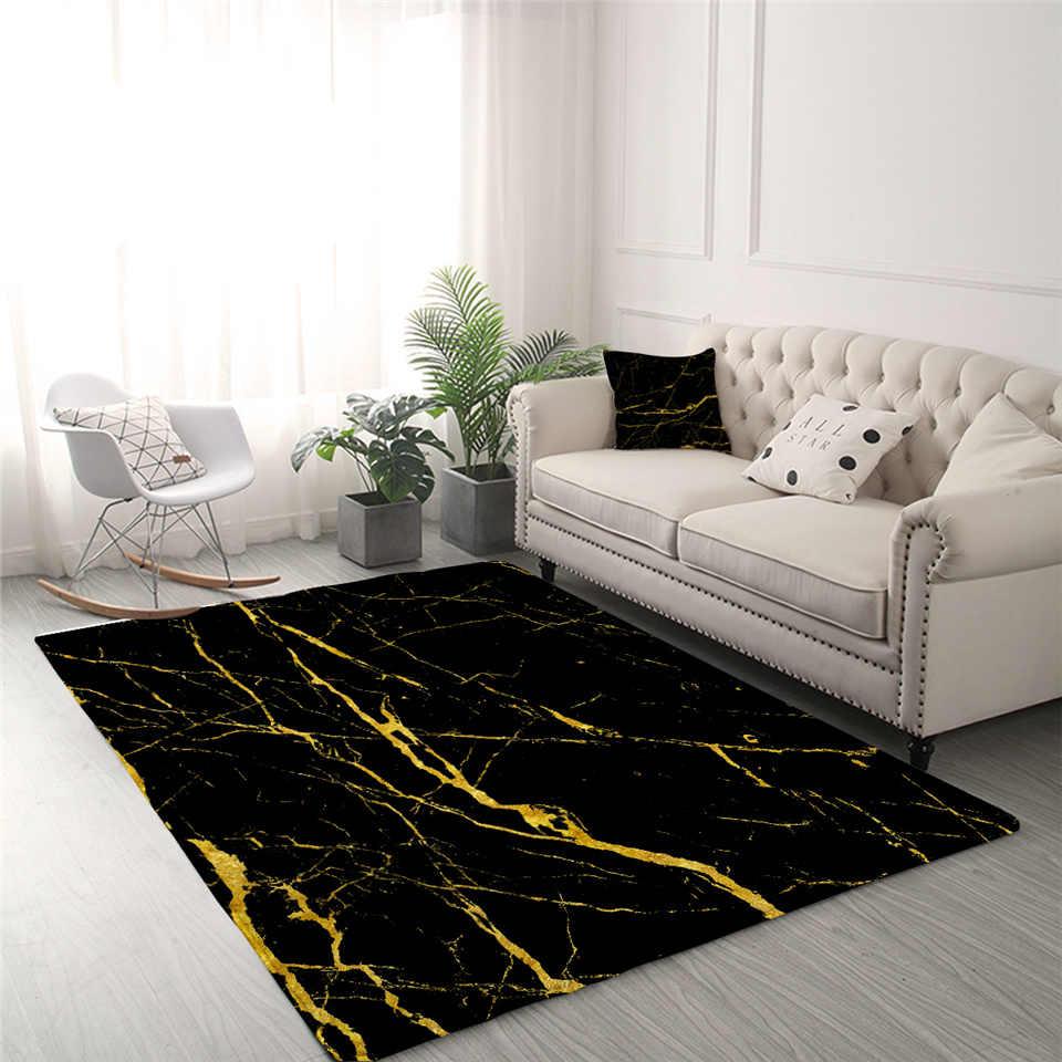 BlessLiving Marmor Bereich Teppich Für Wohnzimmer Moderne Gold Glitter Schwarz Marmor Stein Zentrum Teppich Trendy Schlafzimmer Teppich Dropshipping