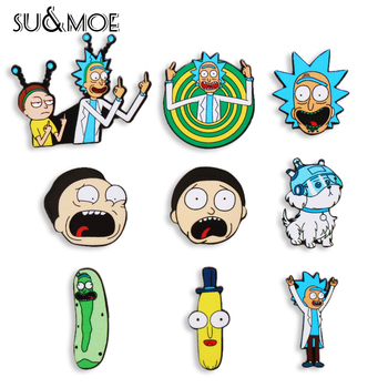 Cartoon icons Style Morty pin Genius mad scientist Badge Buttons Brooch Anime Lovers Denim Shirt Enamel Lapel Rick pins image