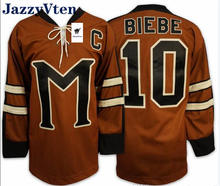 2020 new arrived customs Movie embroidery jerseys Ice Hockey Jersey Brown Biebe 10 Movie Jersey Cosplay Costume Top Quality(China)