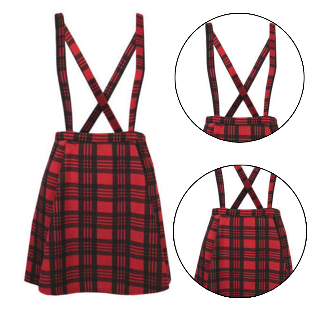 Women's High Waist Skirt Straight Braces Suspender Plus Size S-5XL Fashion Braces Skirt Women Casual Cotton Polyester