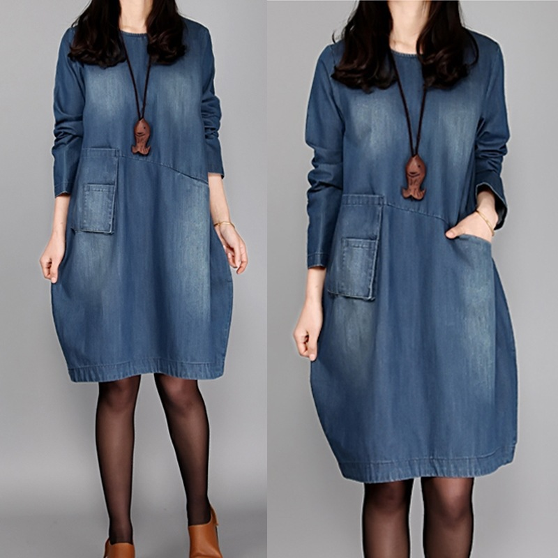 2019 Spring And Autumn Korean-style Large Size WOMEN'S Dress Loose Fashion Mid-length Long Sleeve Faded Denim Skirt Fashion