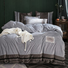Baby Velvet Princess Style 4pcs Lace Bed Duvet Cover Bed Sheet Pillowcase Solid Light Silver Grey Orange Brown Queen King(China)