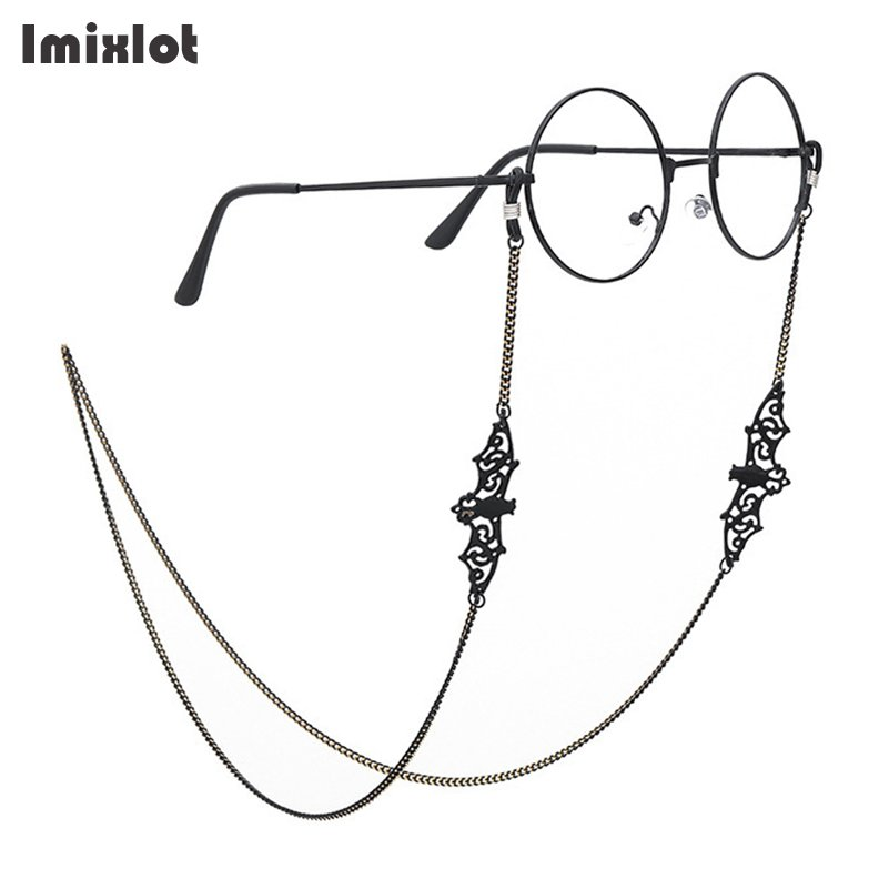 Retro Black Bat Eyeglass Chain Lanyard Strap Necklace Metal Sunglasses Spectacles Chain Holder Cord Reading Glasses Strap