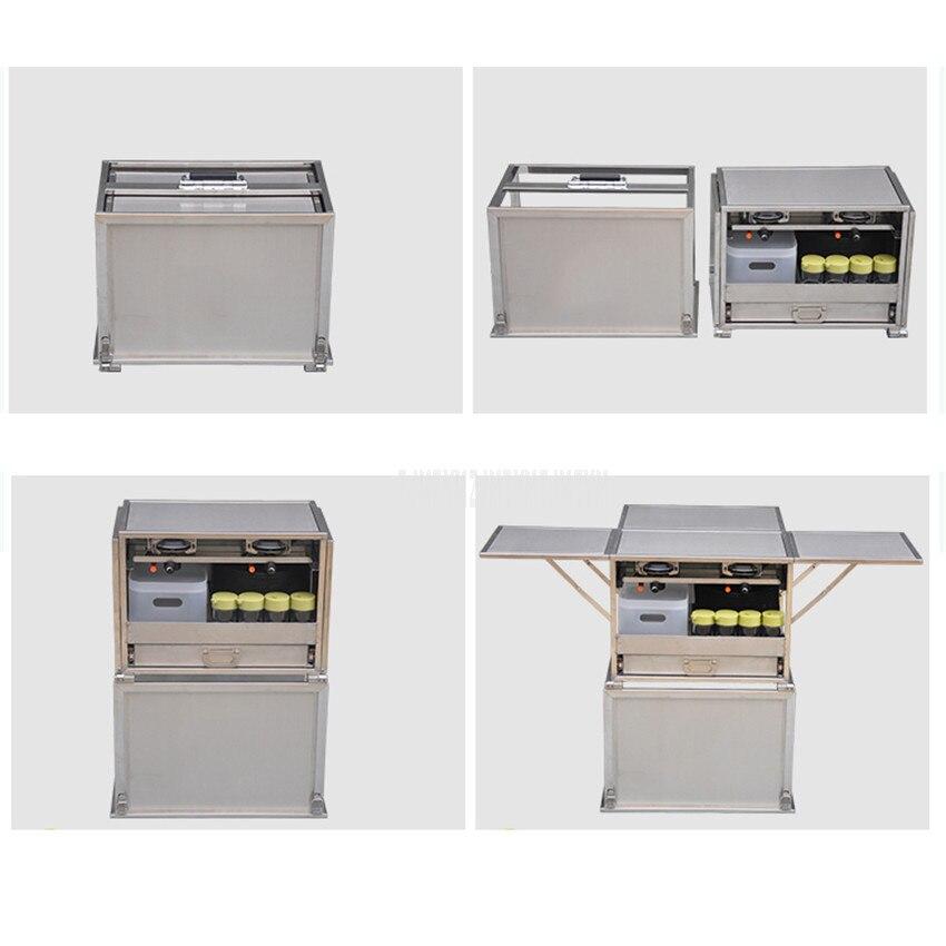 2 3 человека на открытом воздухе Мобильная Кухня 304 из нержавеющей стали складной стол для приготовления пищи Пешие прогулки газовая плита для кемпинга плита + лобовое стекло W450 - 3