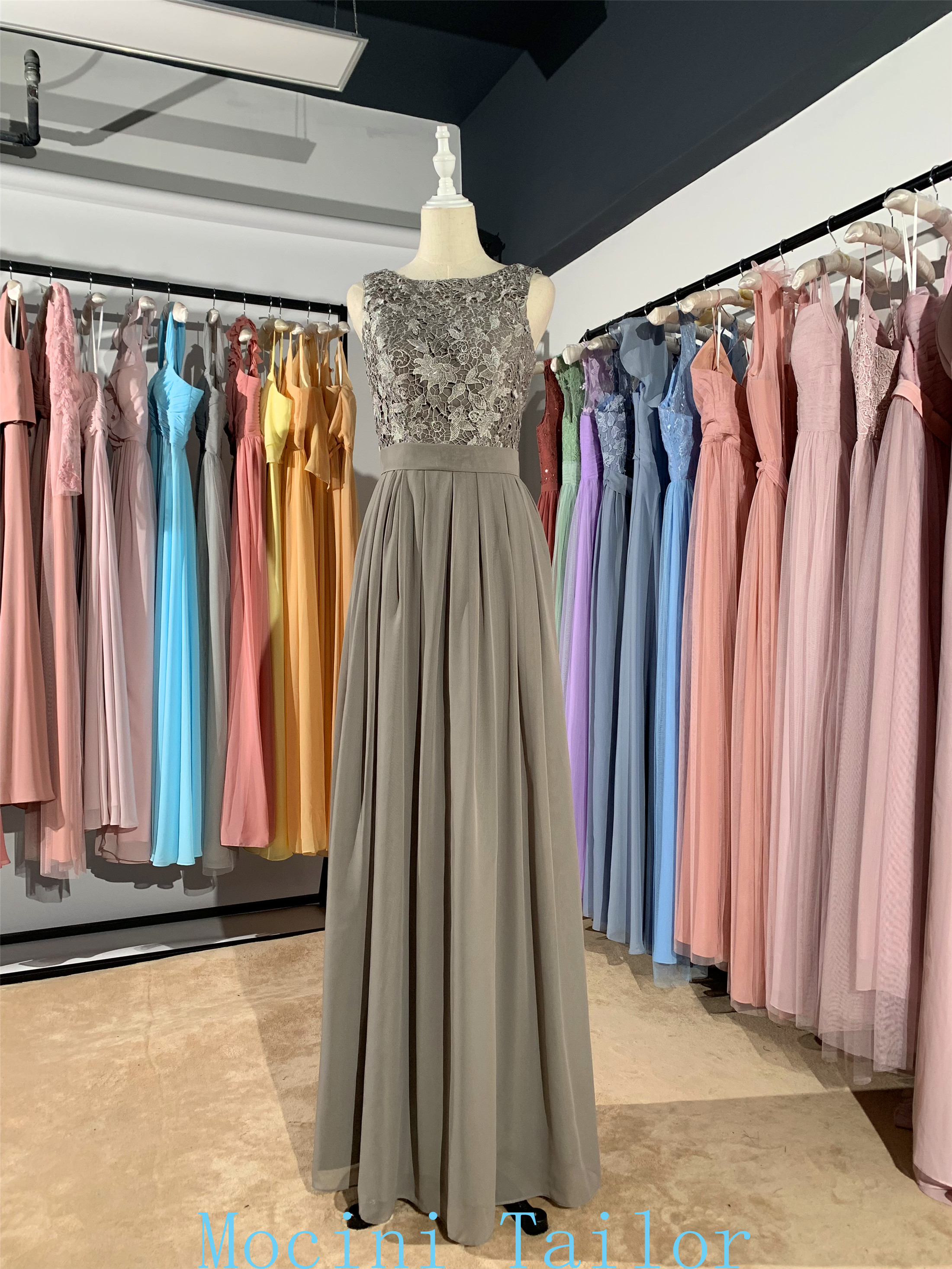 Steel Grey Chiffon Lace Long Bridesmaid Dress 2020 Different Nice Small Cow Pleats Luckgirls Customizable Fashion Mocini Tailor