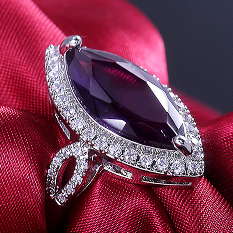 Luxury Vintage Purple Zircon CZ Crystal Rings For Women Wedding Party Gift Female White Rhinestone Inlay Cocktail Party Ring
