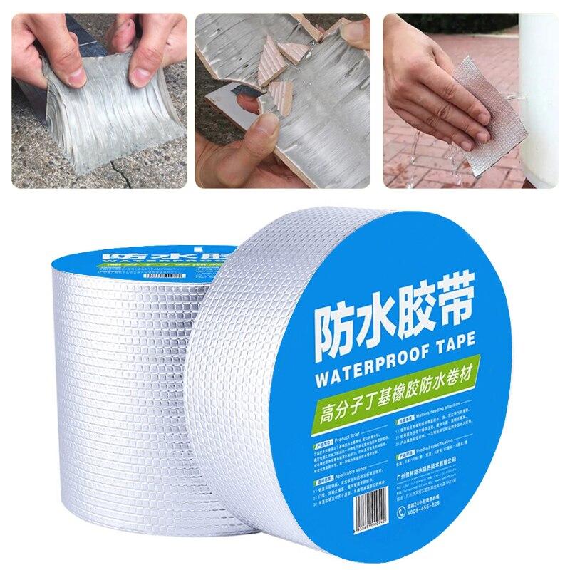 Алюминиевая фольга утолщенная бутиловая водонепроницаемая лента для ремонта стен и трещин на крыше клейкая лента устойчивая к высоким тем...