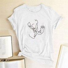 Magliette stampate con facce umane lineari camicie da donna top estivi per donna magliette grafiche da donna Streetwear Camiseta Mujer Verano