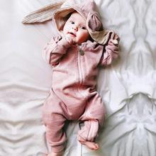Cute Newborn Baby Boys Girls Kids Kawaii Rabbit Ear Romper Jumpsuit  Clothes Cotton Blend Outfits Cloth