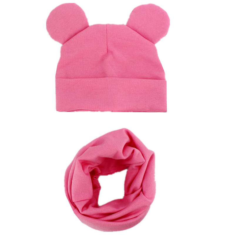 New Spring Autumn Baby Hat Set Cute Ears Cotton Girls Cap Scarf Infant Hats Kids Boys Knitted Cap Winter Children Hat Collar Set